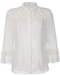 Blusa de encaje bordada blanca de Roberto Cavalli