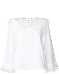 Blusa de encaje con volante blanca de MCQ