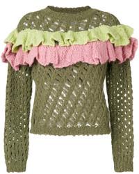 Blusa de lana con volante verde oliva de Moschino