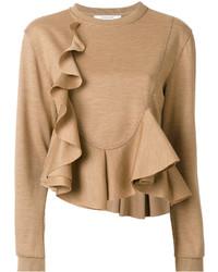 Blusa de lana de punto marrón claro de Givenchy