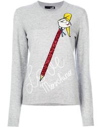 Blusa de lana estampada gris de Love Moschino