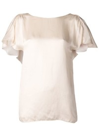 Blusa de manga corta beige original 1293189