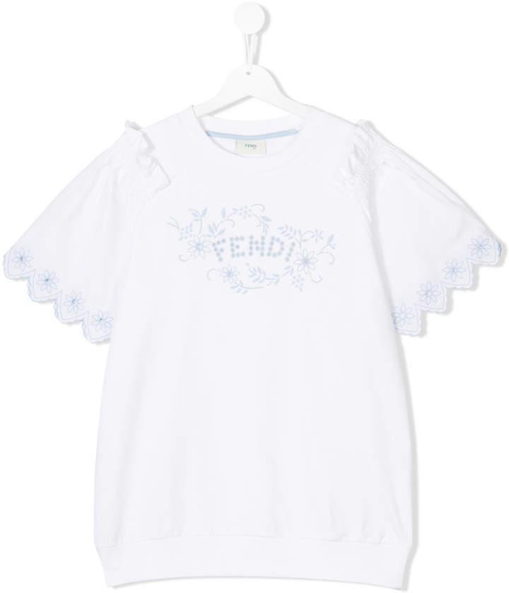 Blusa de manga corta blanca de Fendi