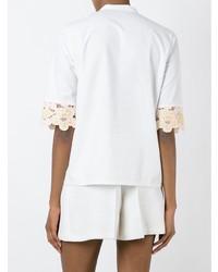 Blusa de manga corta bordada blanca de Etro