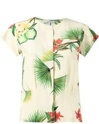Blusa de manga corta con print de flores blanca