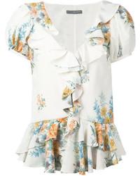 Blusa de manga corta con print de flores blanca de Alexander McQueen
