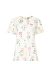 Blusa de manga corta con print de flores blanca de N°21