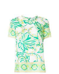 Blusa de manga corta con print de flores verde