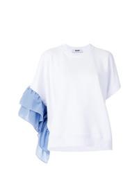 Blusa de manga corta con volante blanca de MSGM