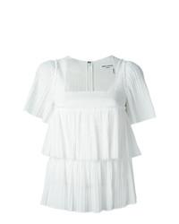 Blusa de manga corta con volante blanca de Sonia Rykiel