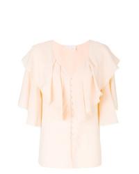 Blusa de manga corta con volante rosada de Chloé