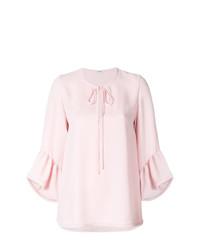 Blusa de manga corta con volante rosada de P.A.R.O.S.H.