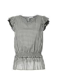 Blusa de manga corta de cuadro vichy en negro y blanco de GUILD PRIME