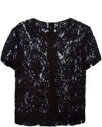 Blusa de manga corta de encaje negra
