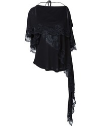 Blusa de manga corta de encaje negra de Givenchy