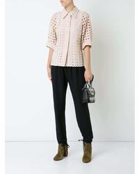 Blusa de manga corta de encaje rosada de Chloé