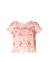 Blusa de manga corta de encaje rosada de Ermanno Scervino