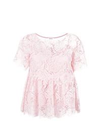 Blusa de manga corta de encaje rosada de P.A.R.O.S.H.
