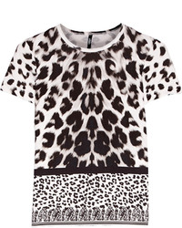 Blusa de Manga Corta de Leopardo Blanca y Negra