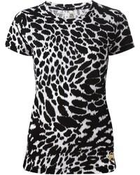 Blusa de manga corta de leopardo en blanco y negro de MICHAEL Michael Kors