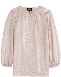 Blusa de manga corta de leopardo rosada
