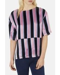 Blusa de manga corta de rayas verticales en rosa y negro