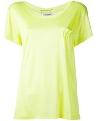Blusa de manga corta de seda amarilla