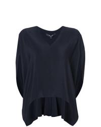 Blusa de manga corta de seda azul marino de Derek Lam