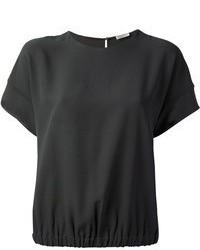 Blusa de Manga Corta de Seda Negra de Brunello Cucinelli
