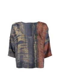 Blusa de manga corta efecto teñido anudado en multicolor