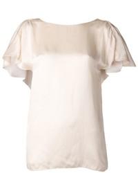 Blusa de manga corta en beige