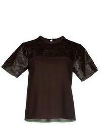 Blusa de manga corta en marrón oscuro