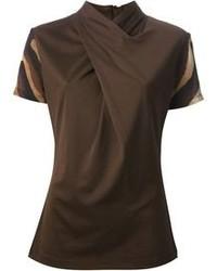 Blusa de manga corta en marrón oscuro de Salvatore Ferragamo