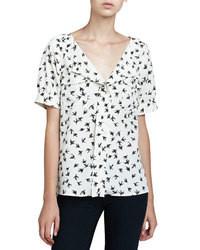 donde puedo comprar baratas para descuento de calidad superior Comprar una blusa de manga corta estampada en blanco y negro ...