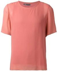 Blusa de manga corta rosada de Vince