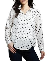 Blusa de manga larga a lunares en blanco y negro