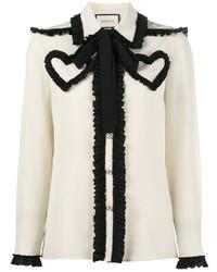 Blusa de manga larga blanca y negra original 10022468