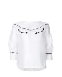 Blusa de manga larga blanca de Sacai