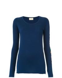 Blusa de manga larga bordada azul marino de Andrea Bogosian