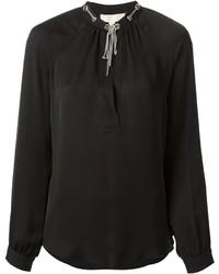 Blusa de manga larga con adornos negra de MICHAEL Michael Kors