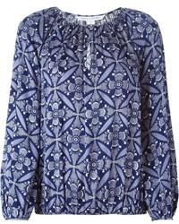 Blusa de manga larga con print de flores azul de Diane von Furstenberg