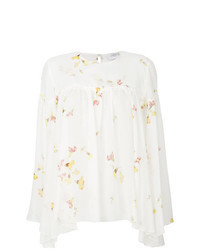 Blusa de manga larga con print de flores blanca