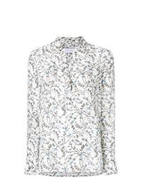 Blusa de manga larga con print de flores blanca de Christian Wijnants