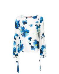 Blusa de manga larga con print de flores blanca de Max Mara Studio