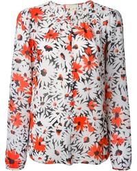 Blusa de manga larga con print de flores blanca de MICHAEL Michael Kors