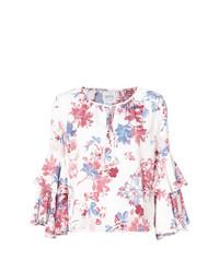 Blusa de manga larga con print de flores blanca de Misa Los Angeles