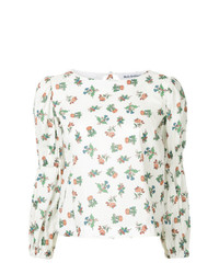Blusa de manga larga con print de flores blanca de Molly Goddard