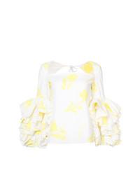Blusa de manga larga con print de flores blanca de Rosie Assoulin