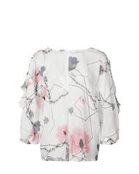 Blusa de manga larga con print de flores blanca de Thomas Wylde