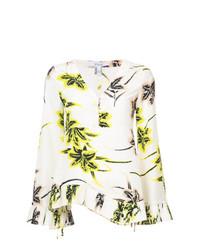 Blusa de manga larga con print de flores en beige de Derek Lam 10 Crosby